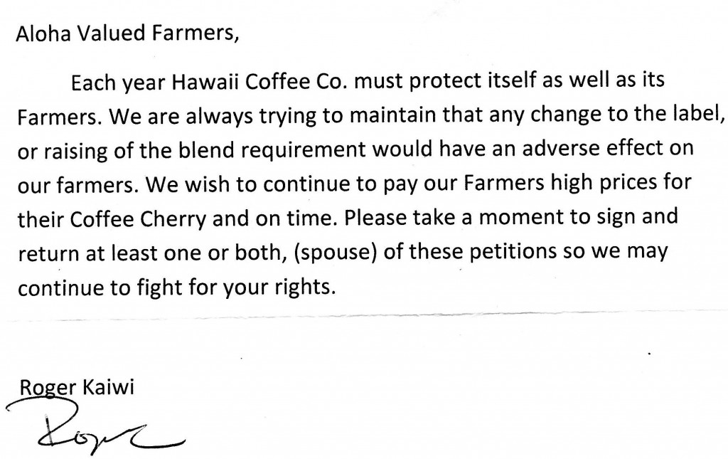 HCC letter to Farmers
